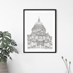 St. Paul's Cathedral, London, England illustration | ink & white