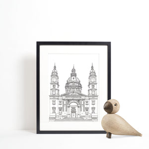 St. Stephen's Basilica, Budapest illustration | ink & white