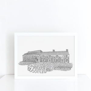 The Swan Hotel, Bibury illustration | ink & white