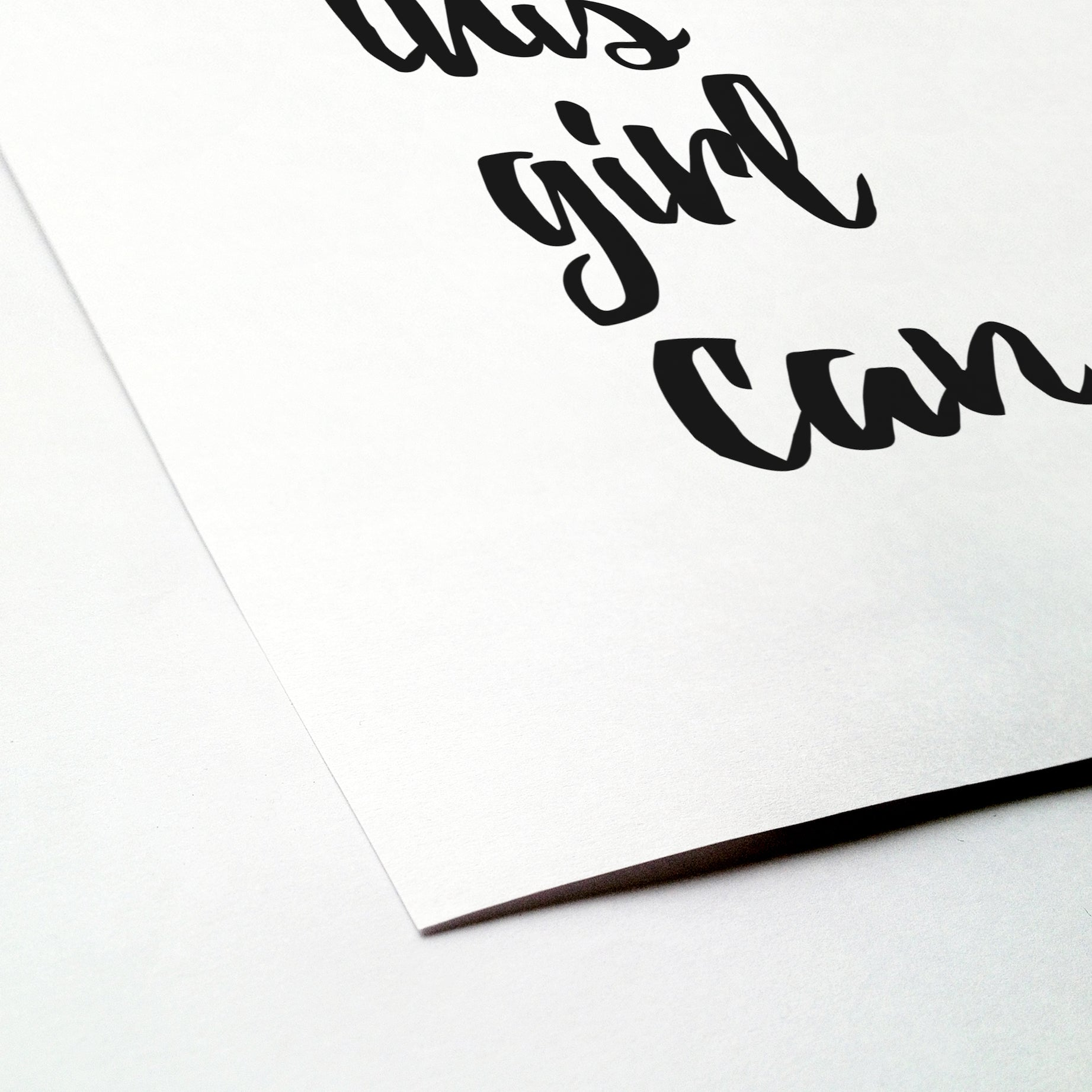 'This girl can' brush letter monochrome print | ink & white