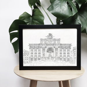 Trevi Fountain, Rome illustration | ink & white
