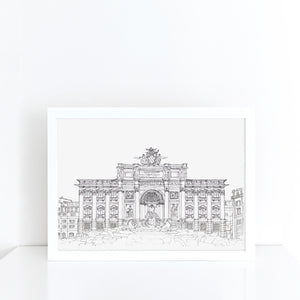 Trevi Fountain, Rome, Italy illustration | ink & white