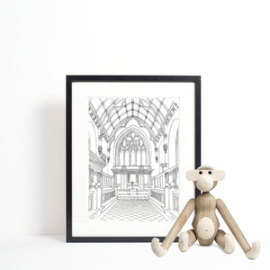 Chapel, University College Oxford illustration | ink & white