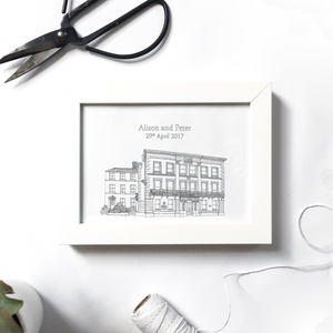 Custom venue illustration | ink & white