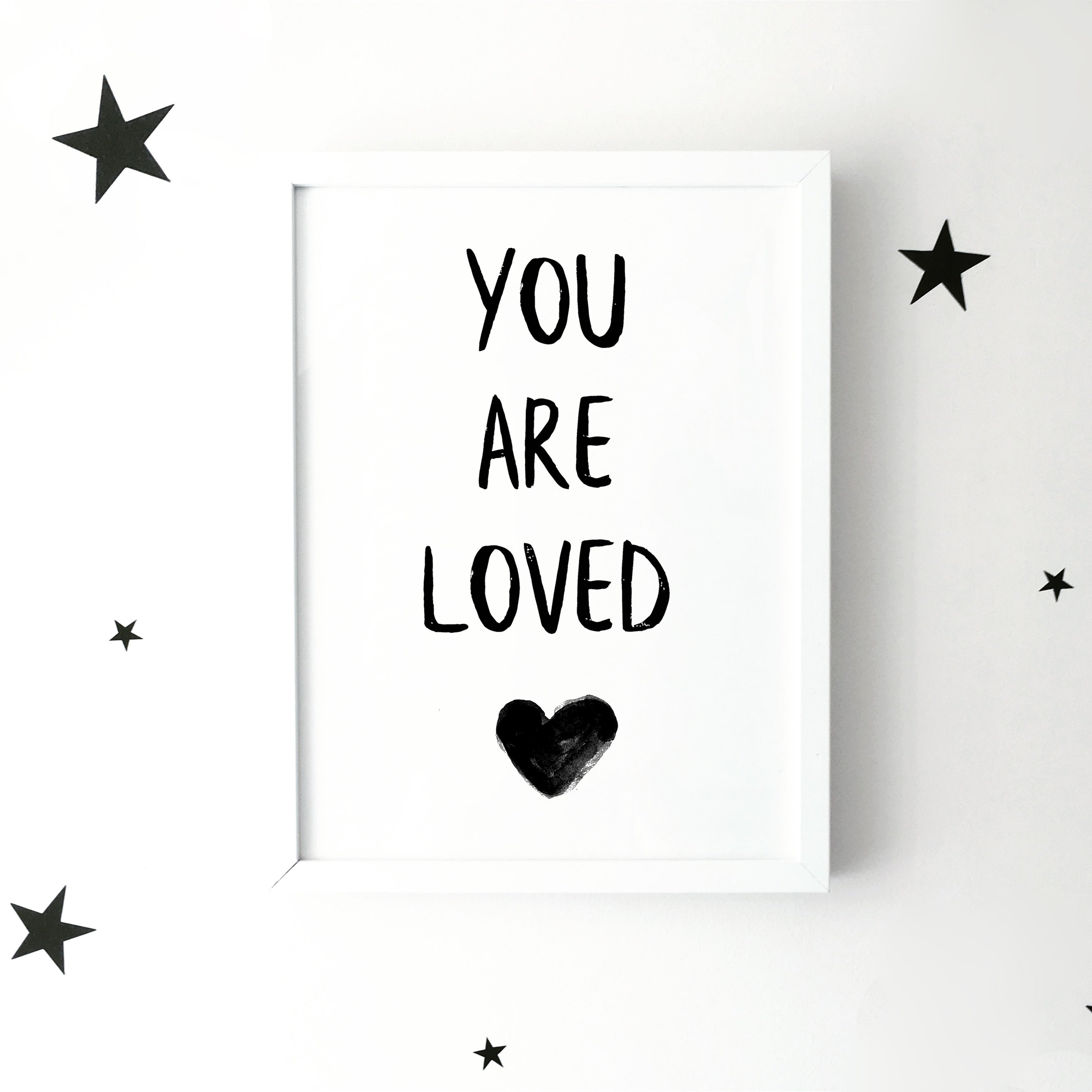 'You are loved' with heart monochrome print | ink & white