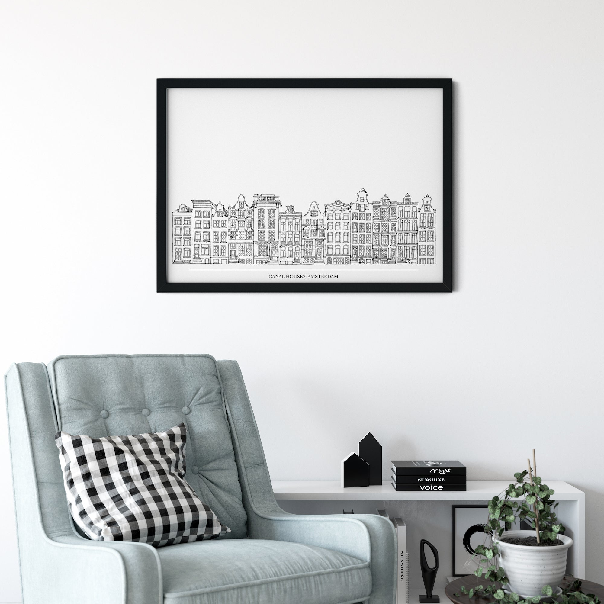 Canal houses with title, Amsterdam illustration | ink & white