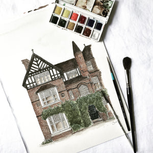 Watercolour custom house illustration | ink & white
