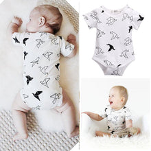 2016 Bodysuits Clothing Infant Newborn Baby Girls Boy Origamibirds Bodysuits Clothing Jumpsuit Onesie White Clothes 0-24M