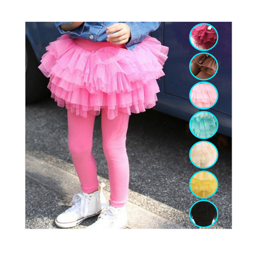 Novatx Girls Leggings 2017 Fashion Kids Pants Skirt One-piece Suit of Leggings and Tutu Mesh Skirts Mutil-color Baby Clothes