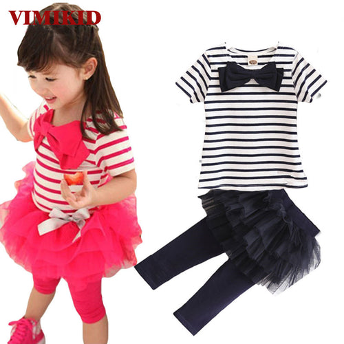 2pcs Outfit Girl Stripe Bow Top Tee Shirt+Tulle Tutu Skirt Legging Set