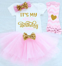 4 Pcs Newborn Baby Girl Clothing Sets Headband+Pullover Vest+Tutu Dress+Leggings 1st Birthday Party Costume For Infant Girls