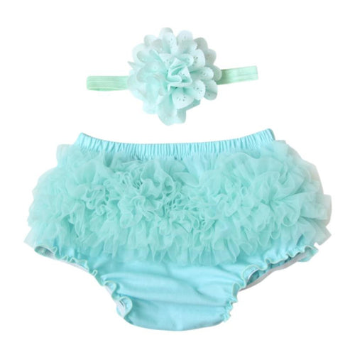Baby kids Toddler Baby Girl Ruffle Bloomers Diaper Cover Shorts +HeadbandSet 2 pieces set drop shipping