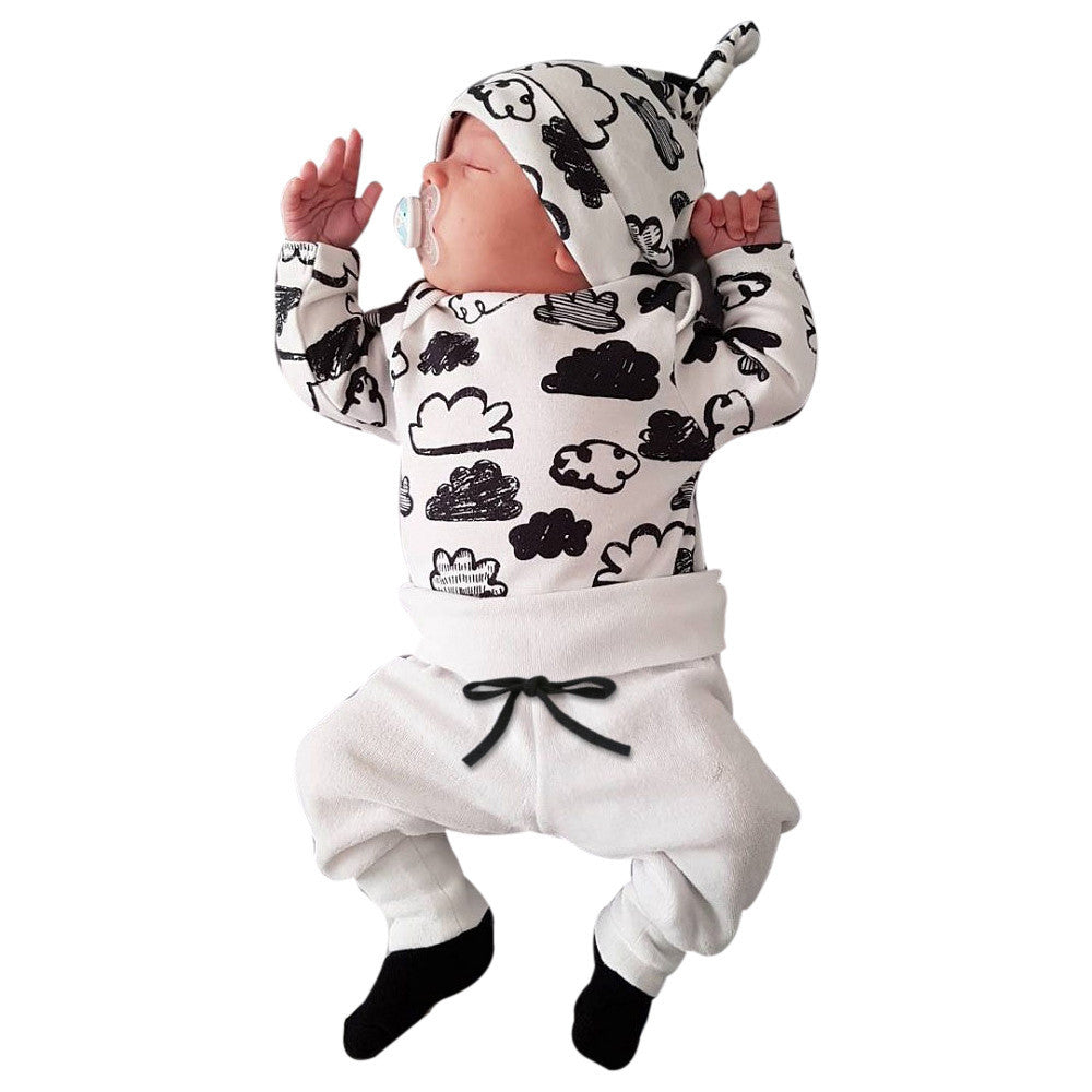 Newborn baby clothes set Infant Baby Girl Boy Cloud Print T Shirt Tops+Pants Outfits Clothes baby Set droip shipping