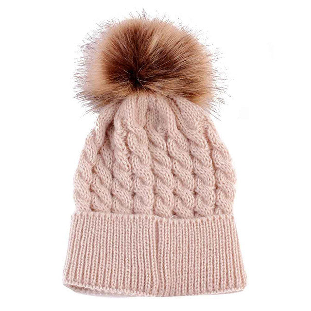 Newborn and toddler pom pom winter hat