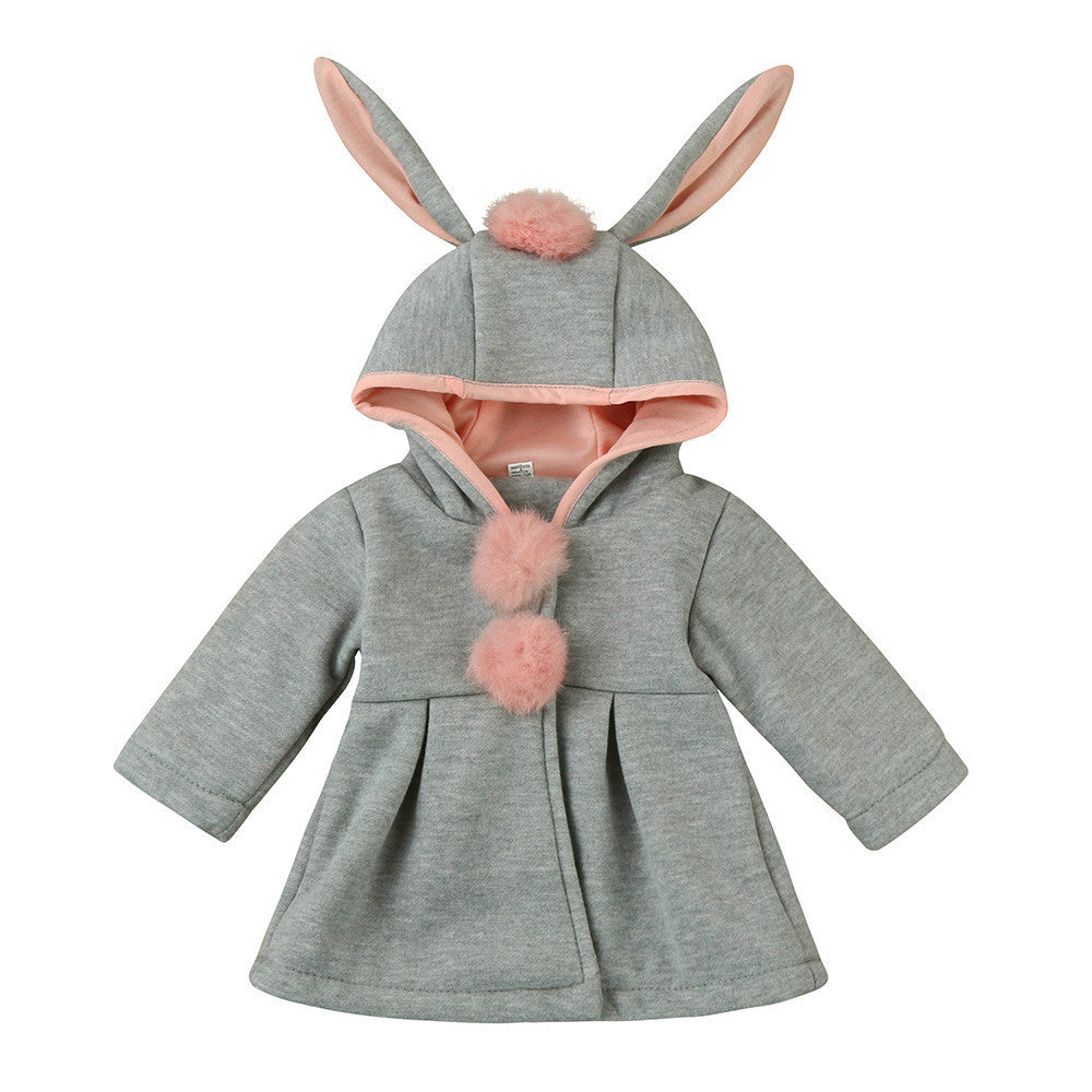 Girls hooded winter coat with bunny ears