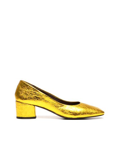 Coclico Elda Gold Block Heel Shoes - 36 - Gold | ATELIER957 | shop sale items from hand-picked, statement clothing, shoe, and accessory collections up to 70 percent off