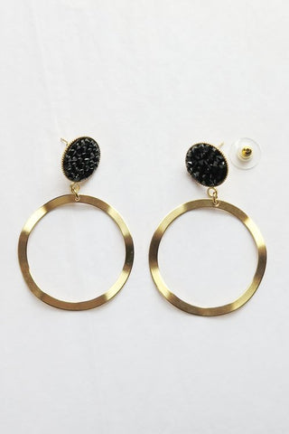 Zzan Black Crystal Hoop Earrings - - | ATELIER957 | statement accessories handcrafted by artesian independent designers