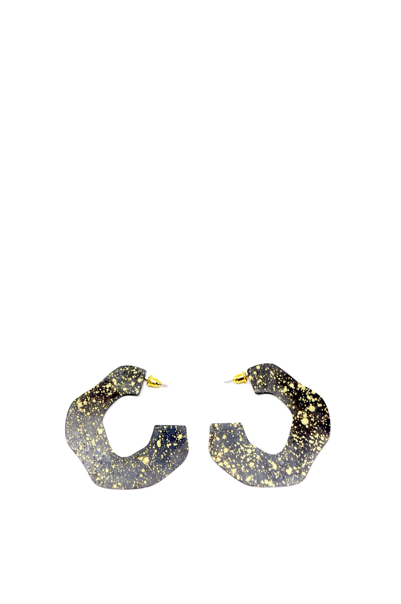 Sibilia Gold and Black Mancha Hoops - - | ATELIER957 | shop sale items from hand-picked, statement clothing, shoe, and accessory collections up to 70 percent off