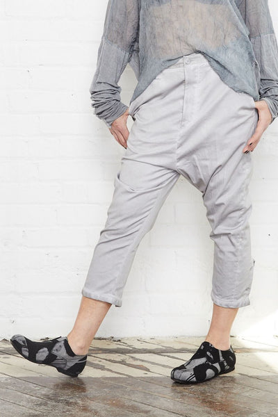 Umit Unal Grey Drop Crotch Pants - S - Grey | ATELIER957 | shop sale items from hand-picked, statement clothing, shoe, and accessory collections up to 70 percent off