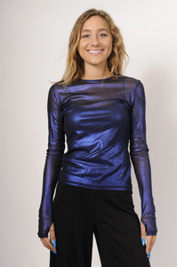 NY 77 Design Royal Blue Mesh Top | ATELIER957