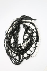 Jianhui London Black and White Ten Strand Bead Necklace | ATELIER957