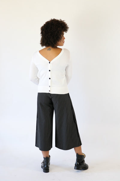 NY 77 Design Wide Leg Pinstrip Cropped Pants | ATELIER957