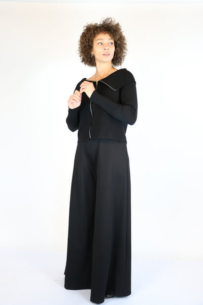 NY 77 Design Black Jersey Wide Leg Pants | ATELIER957