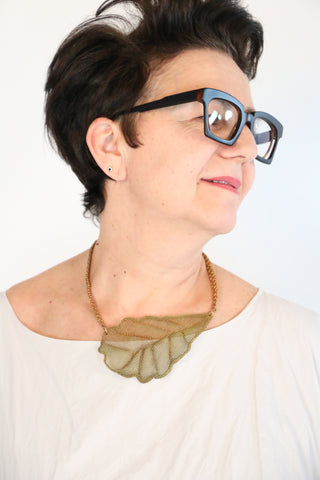 Sarah Cavender Metal Mesh Leaf Necklace | ATELIER957