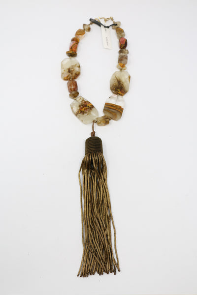 Sally Bass Statement Agate Tassle Necklace | ATELIER957