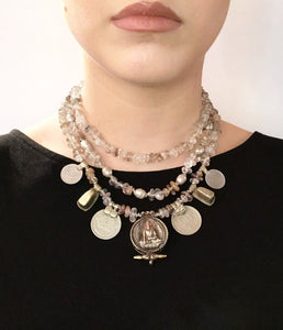 Mya Lambrecht Quartz and Antique Coin Necklace - - | ATELIER957 | statement accessories handcrafted by artesian independent designers