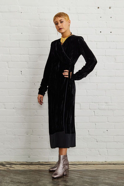 Liviana Conti Black Wrap Velvet Dress | ATELIER957