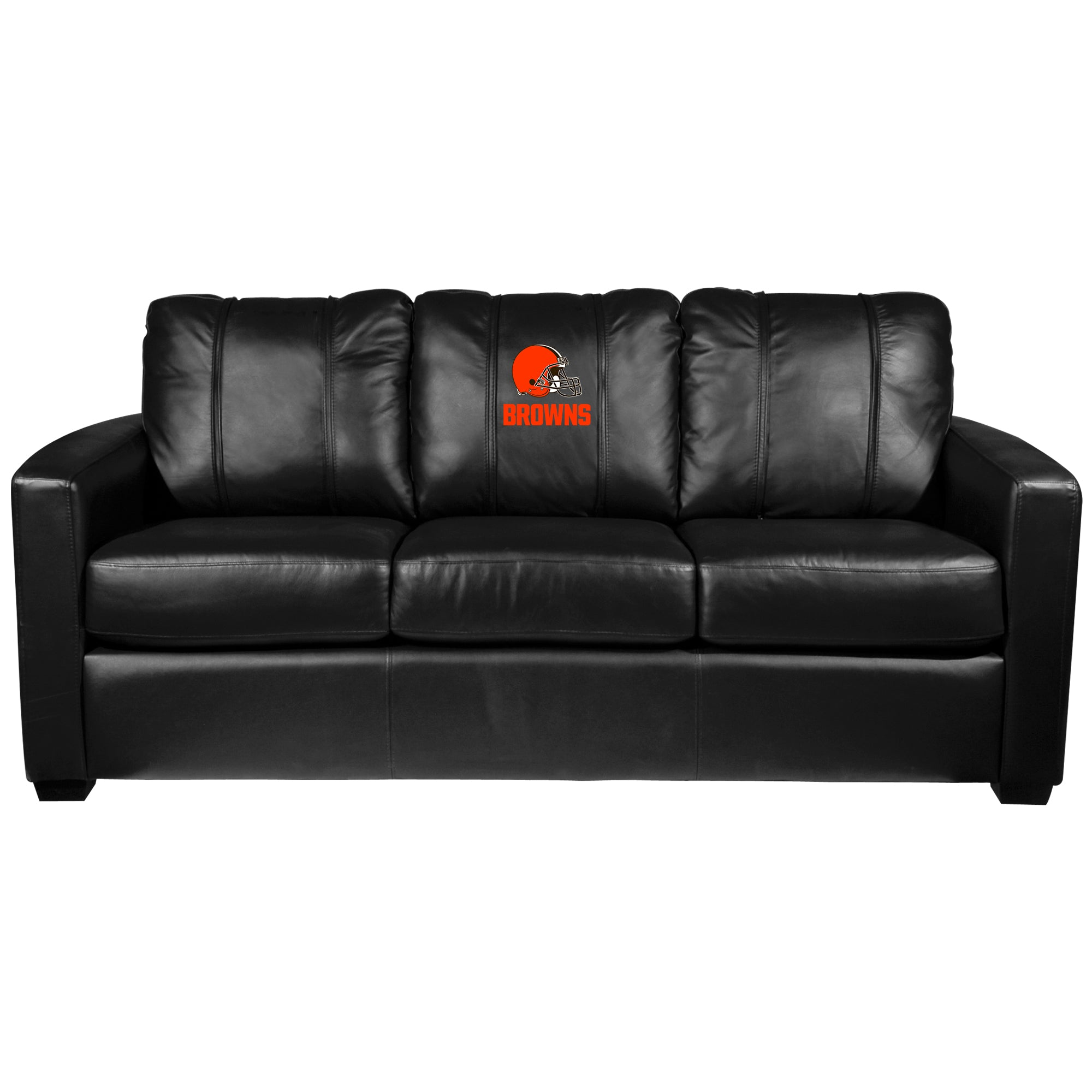 Silver Sofa with  Cleveland Browns Secondary Logo