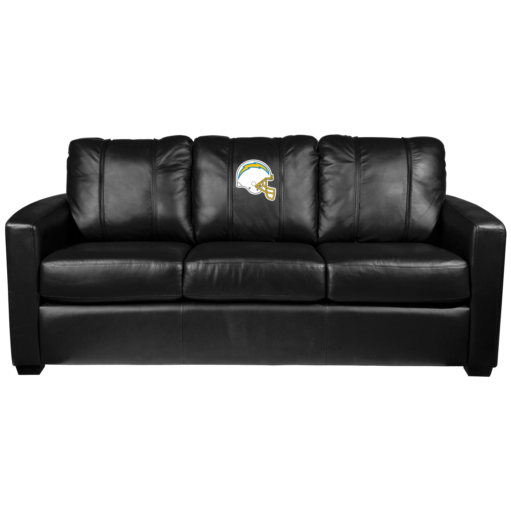 Silver Sofa with  Los Angeles Chargers Helmet Logo