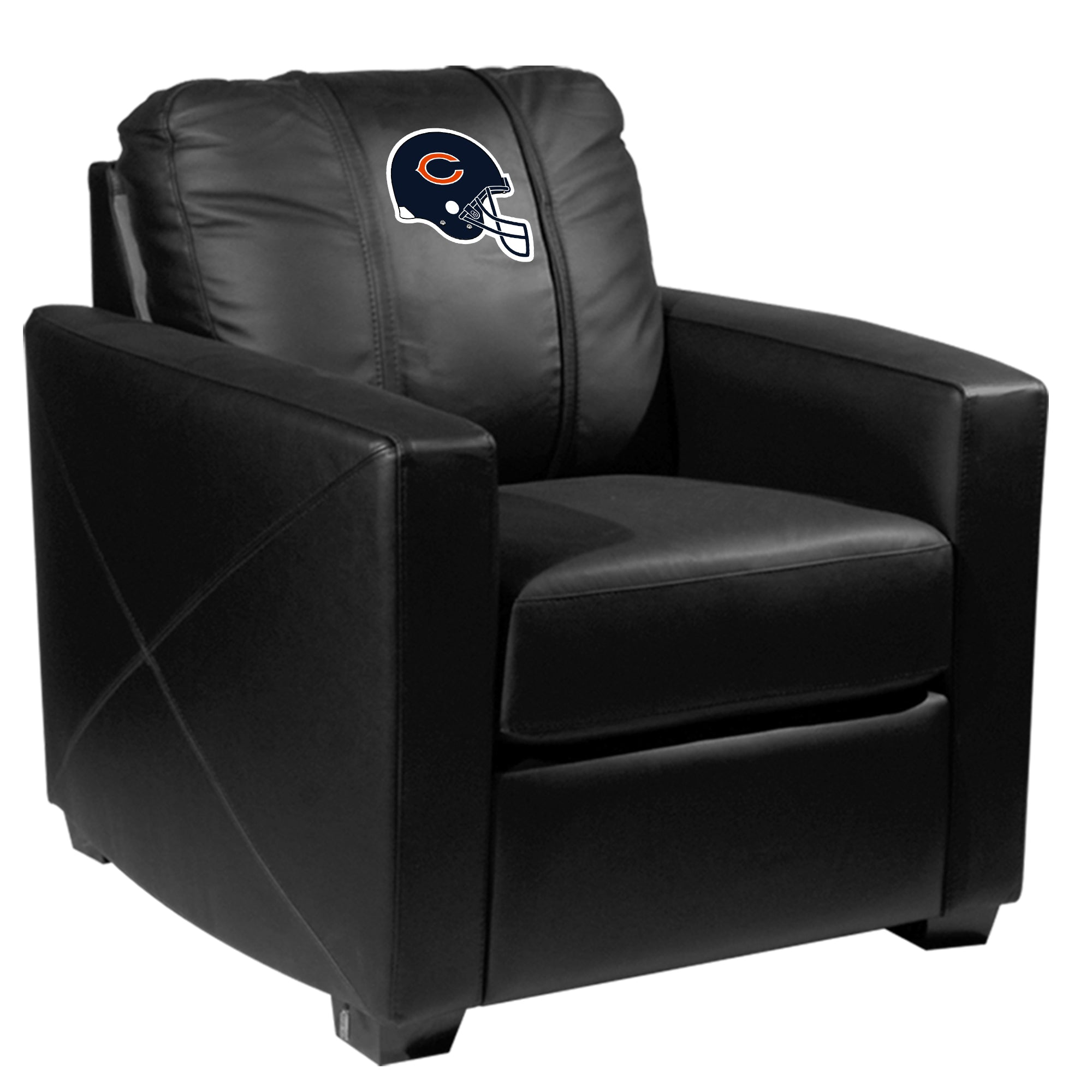 Silver Club Chair with  Chicago Bears Helmet Logo