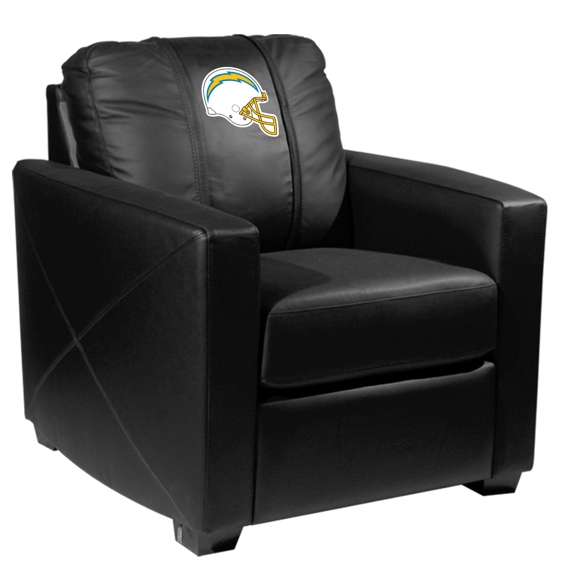 Silver Club Chair with  Los Angeles Chargers Helmet Logo
