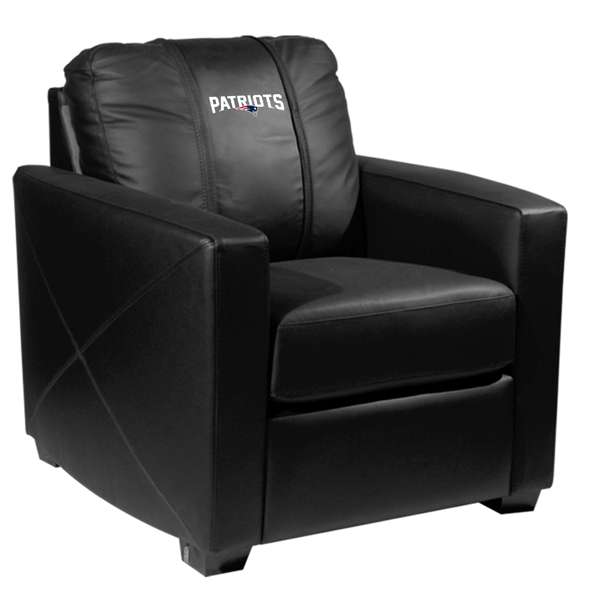 Silver Club Chair with  New England Patriots Secondary Logo
