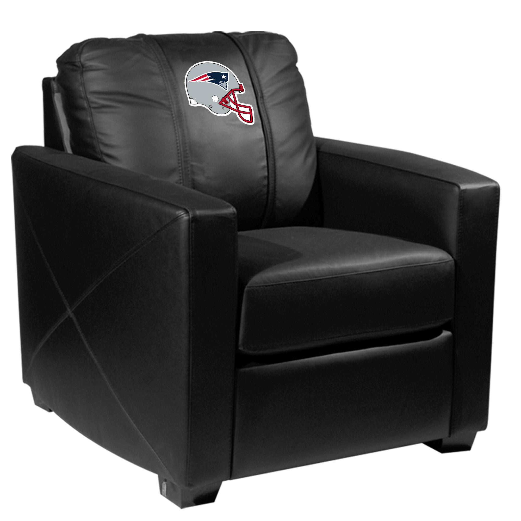 Silver Club Chair with  New England Patriots Helmet Logo