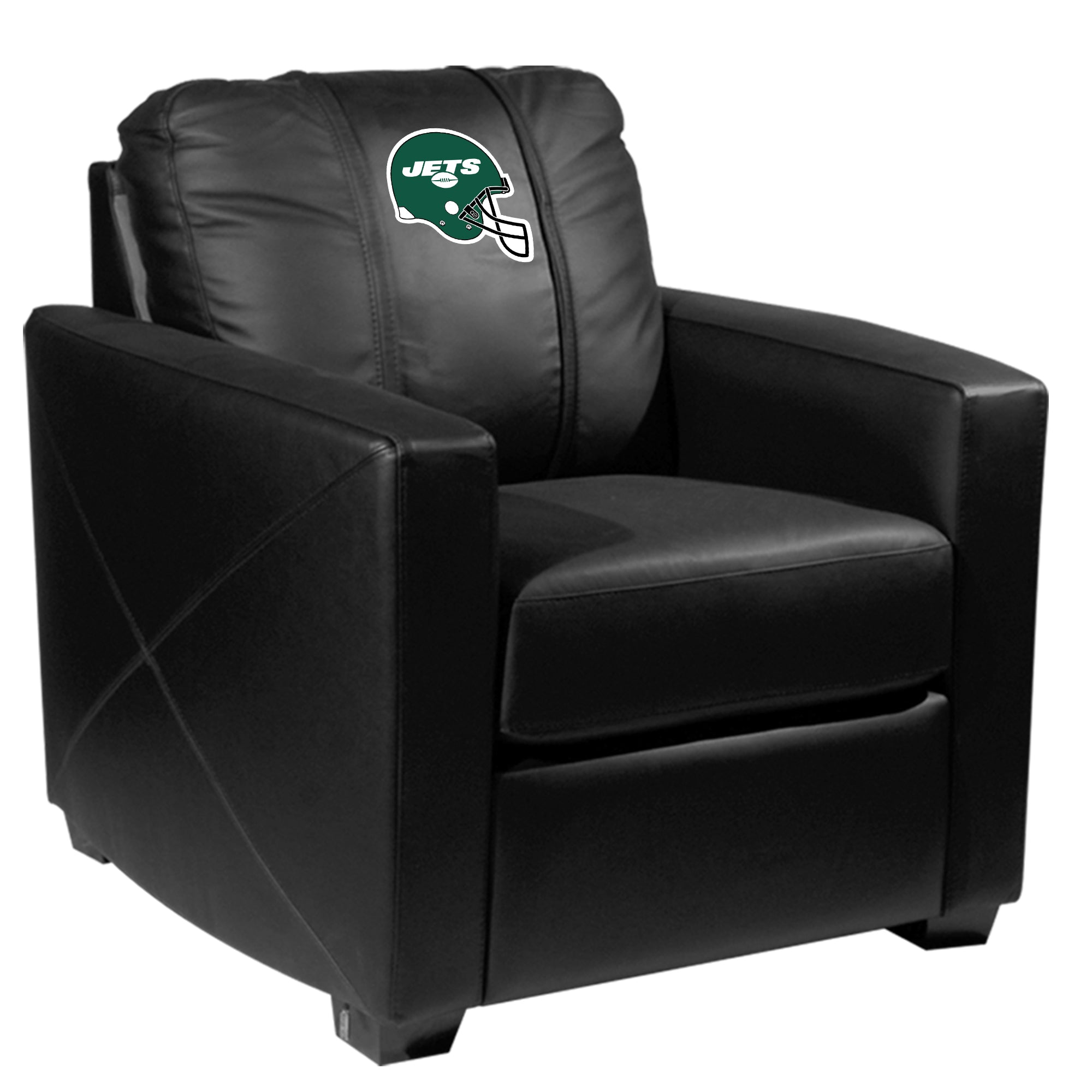 Silver Club Chair with  New York Jets Helmet Logo