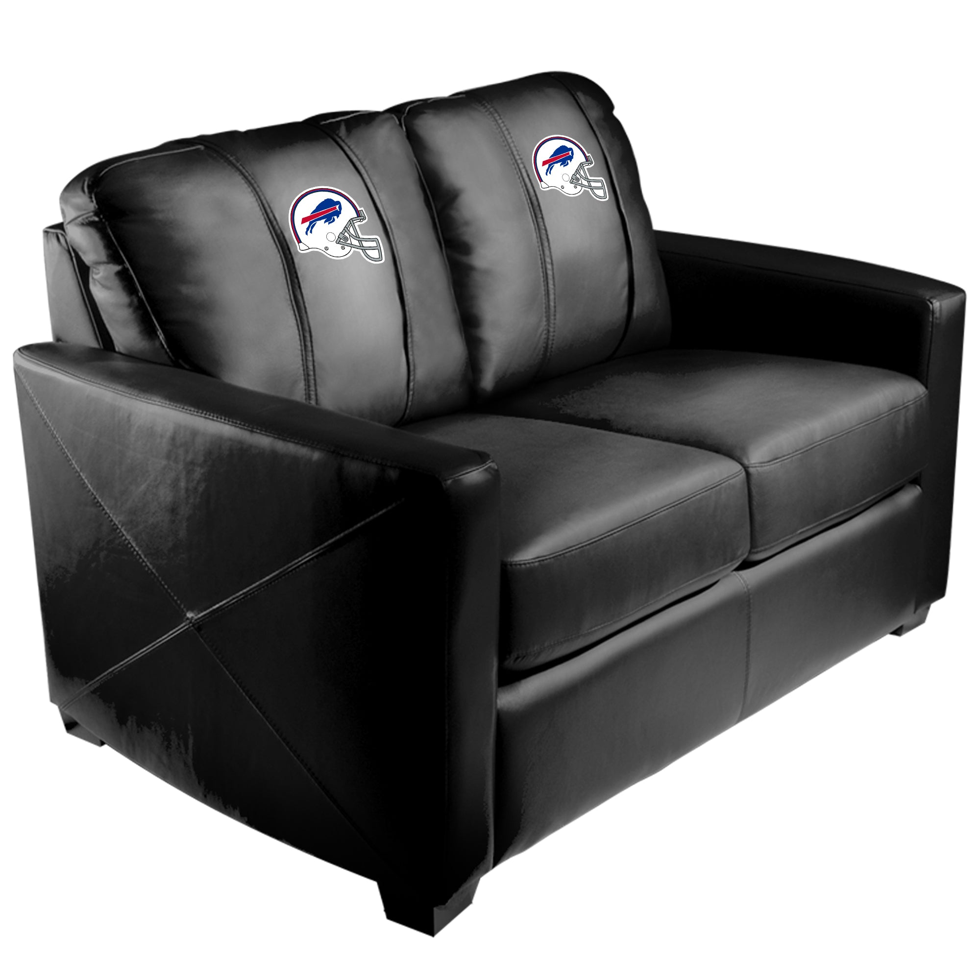 Silver Loveseat with  Buffalo Bills Helmet Logo