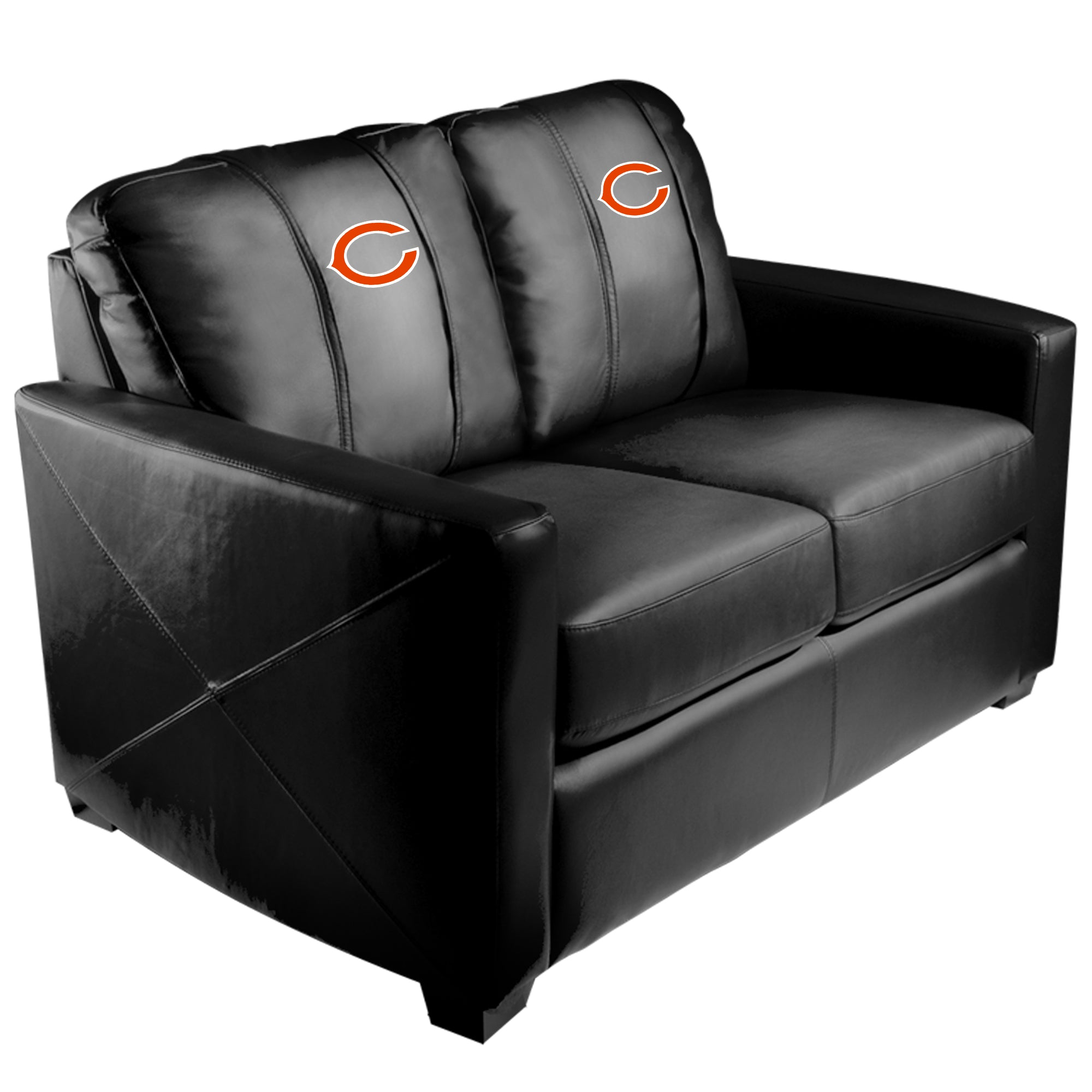 Silver Loveseat with  Chicago Bears Primary Logo