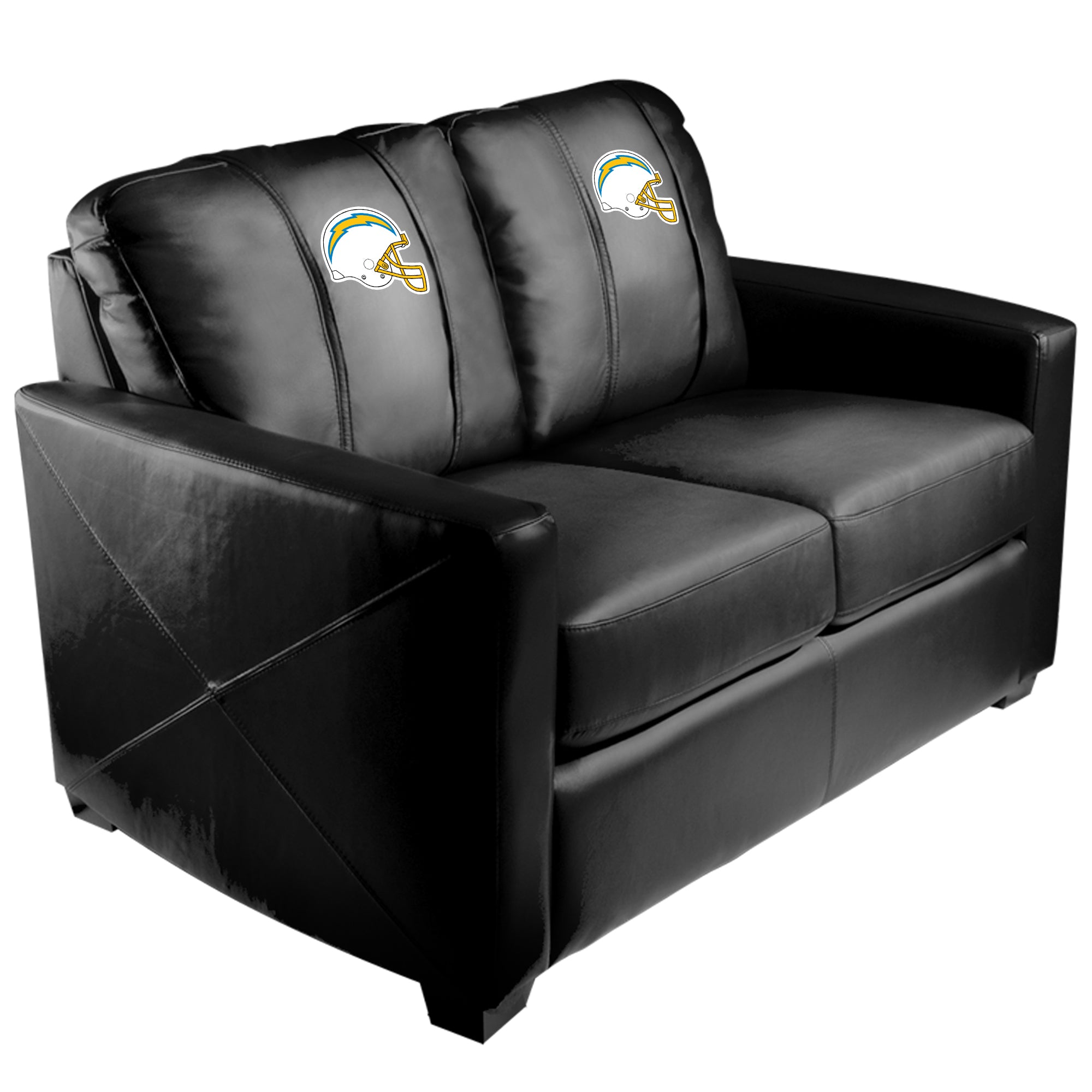 Silver Loveseat with  Los Angeles Chargers Helmet Logo