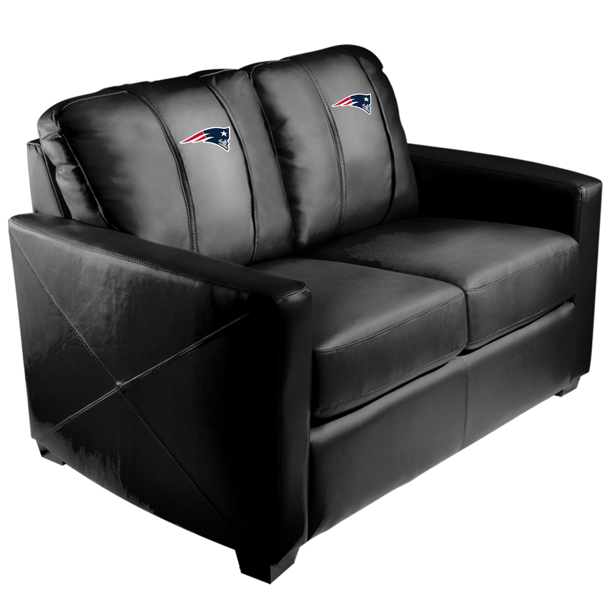 Silver Loveseat with  New England Patriots Primary Logo