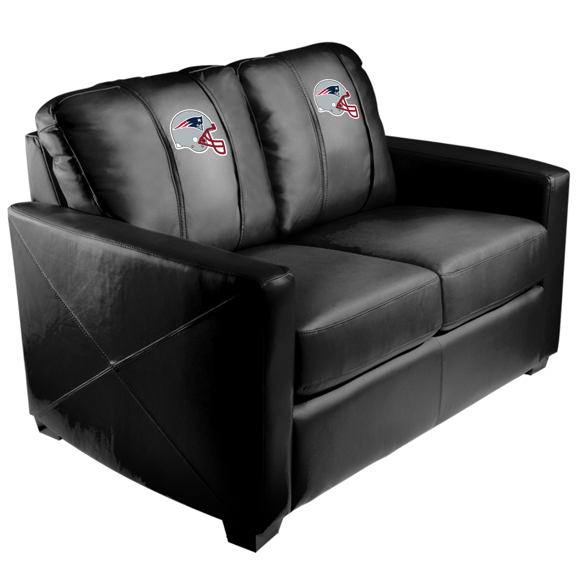 Silver Loveseat with  New England Patriots Helmet Logo