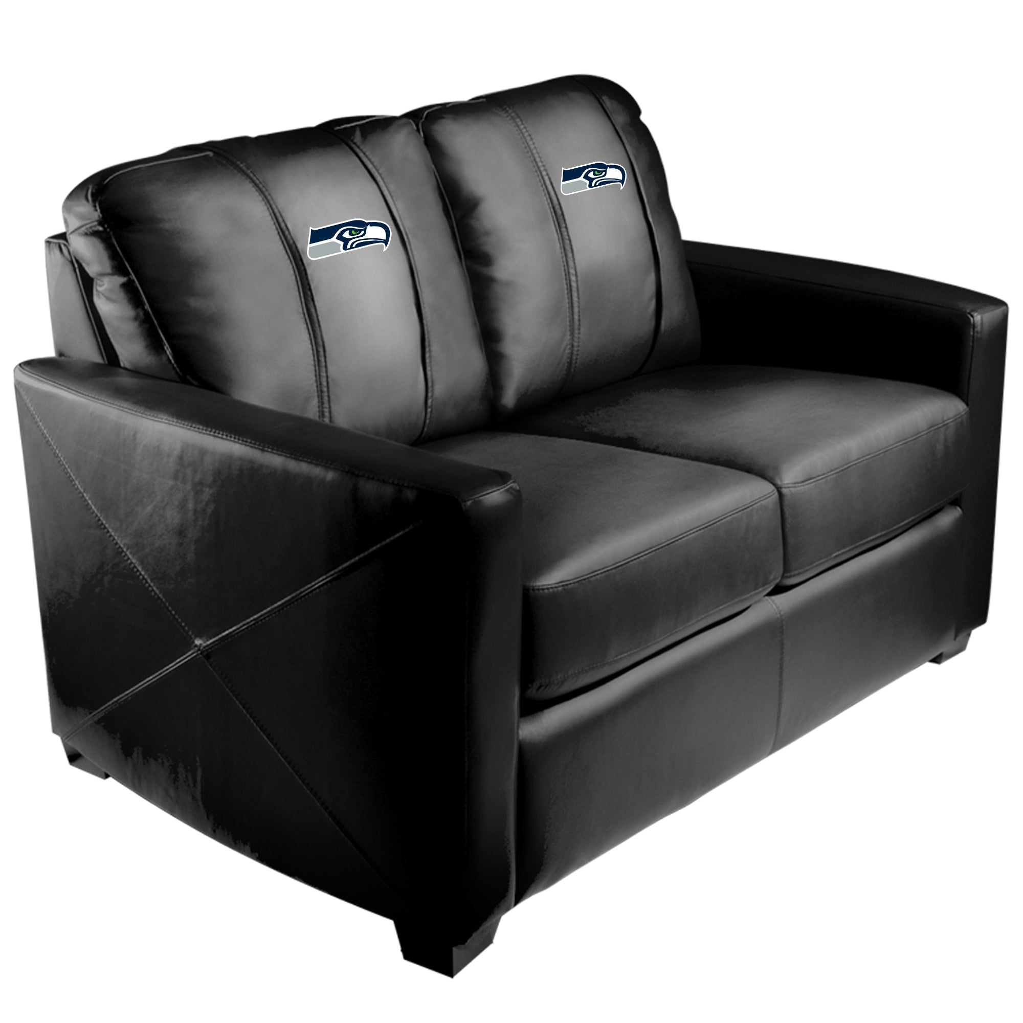 Silver Loveseat with  Seattle Seahawks Primary Logo