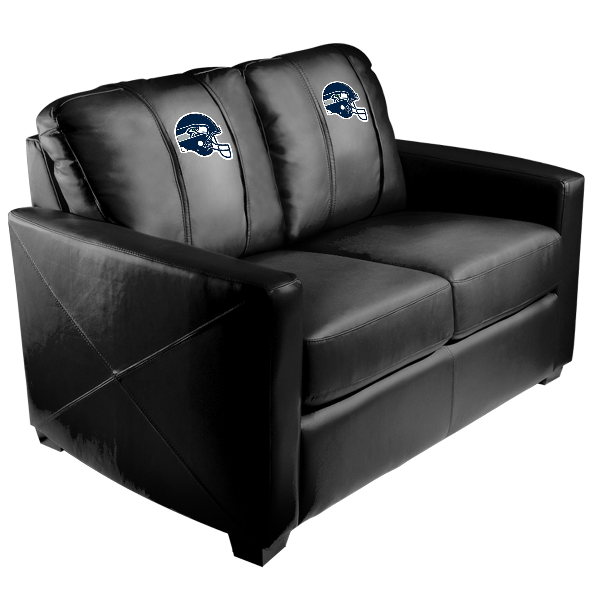 Silver Loveseat with  Seattle Seahawks Helmet Logo