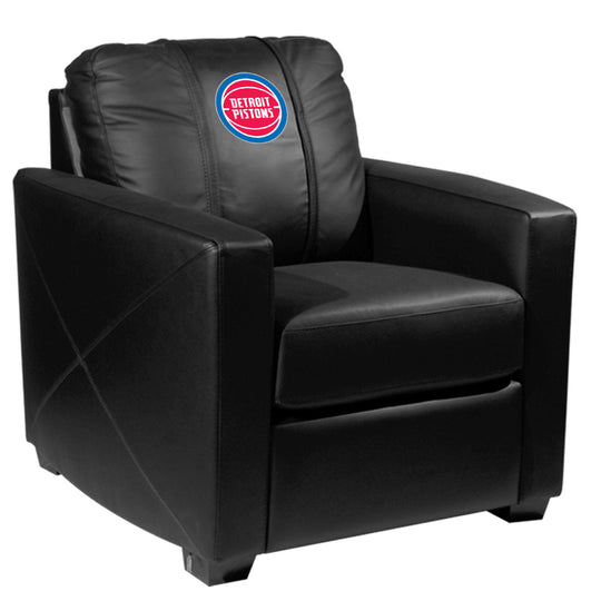 Silver Club Chair Detroit Pistons Logo