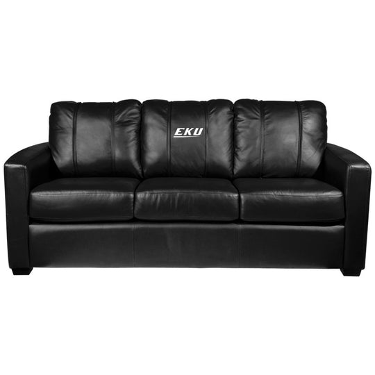 Silver Sofa with Eastern Kentucky Colonels Logo