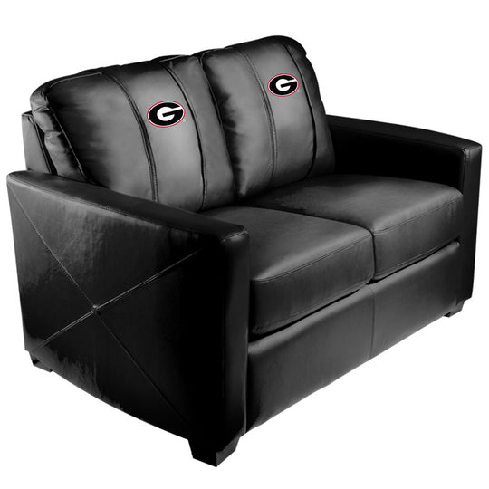Silver Loveseat with Georgia Bulldogs Logo