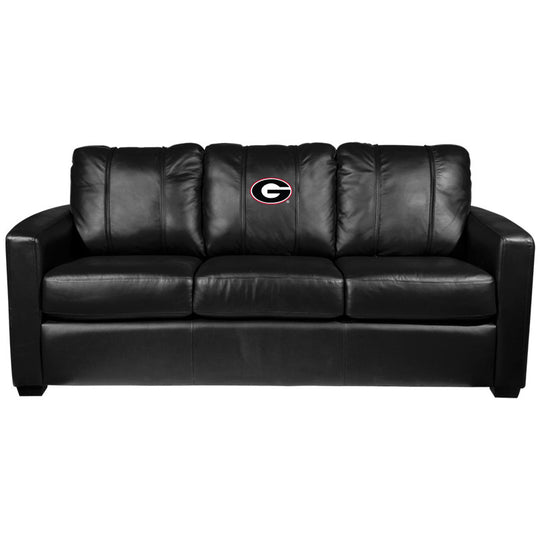 Silver Sofa with Georgia Bulldogs Logo