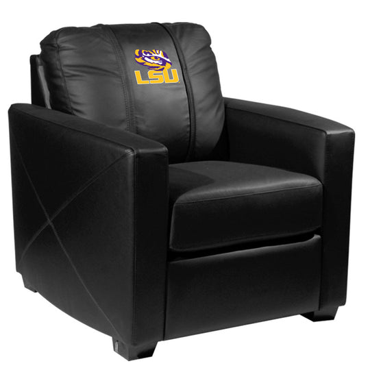 Silver Club Chair with LSU Tigers Logo